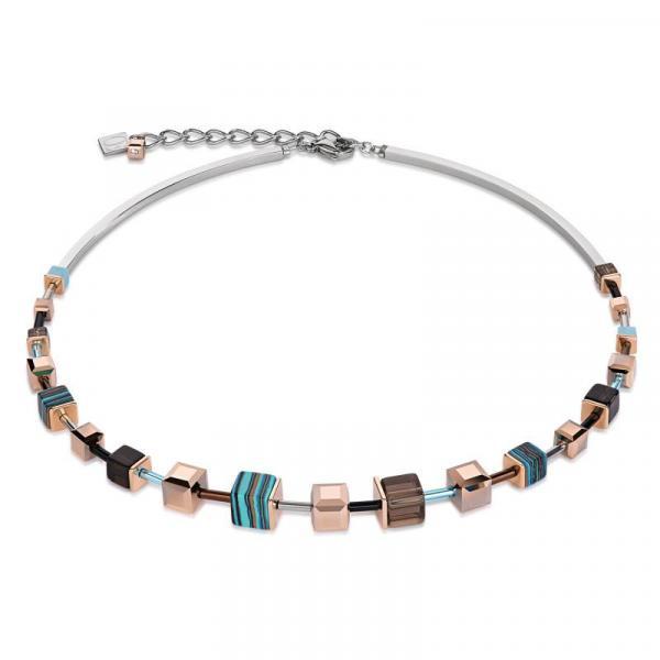 Halskette GeoCUBE® Swarovski® Kristalle Malachit Türkis Braun