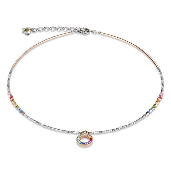 Halskette Ring Kristall Pavé multicolor small & Edelstahl roségold & silber