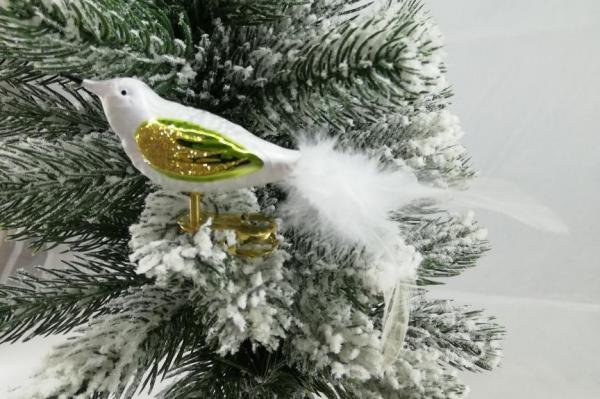 Eisweissgrün Vogel mit Glasfaser Feder