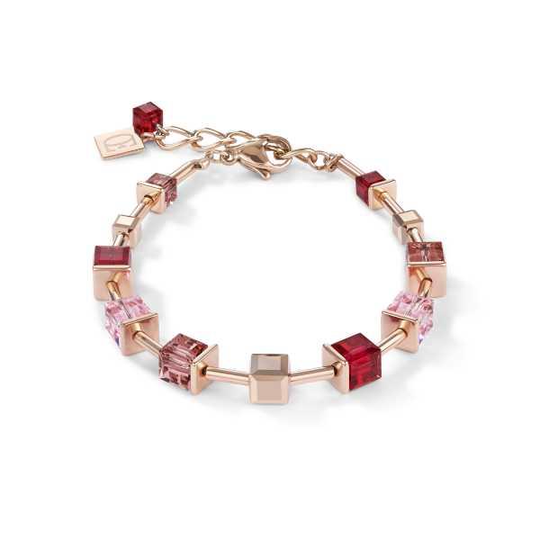 Armband GeoCUBE® Swarovski® Kristalle & Edelstahl roségold rot