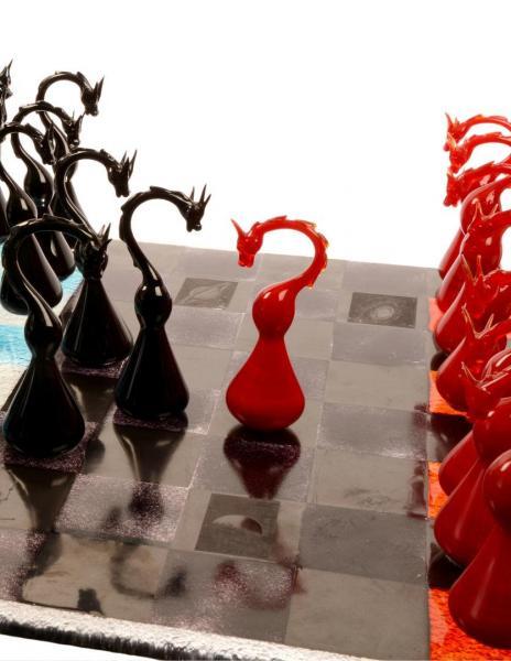 "Schachspiel ""Dragon Line"" aus Glas (Unikat) GGM_U_001"