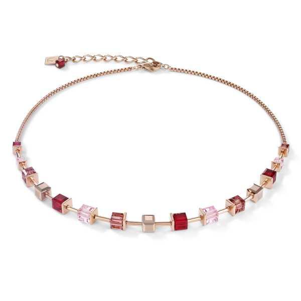 Halskette GeoCUBE® Swarovski® Kristalle & Edelstahl roségold rot