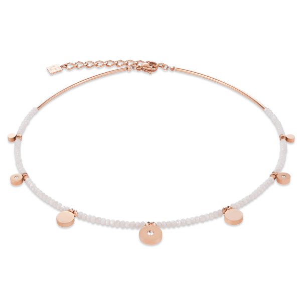Halskette Coins Edelstahl roségold, geschliffenes Glas & Swarovski® Kristalle weiß 4990_10-1400