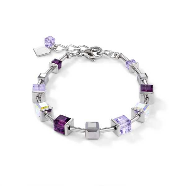 Armband GeoCUBE® Swarovski® Kristalle & Edelstahl amethyst