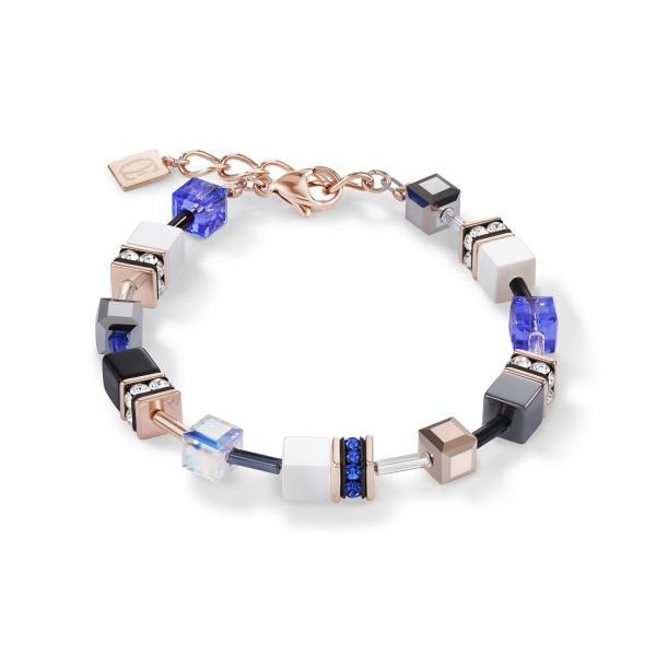 GeoCUBE® Armband roségold, weiß & blau 4013_30-0700