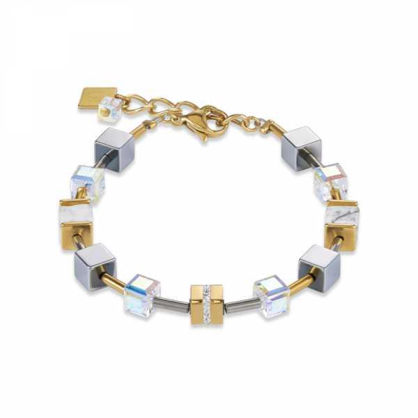 Armband GeoCUBE® Edelstahl & Kristall Pavé, Swarovski® Kristalle & Howlith gold-weiß