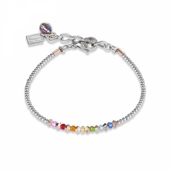 Armband Ring Kristall Pavé multicolor small & Edelstahl roségold & silber