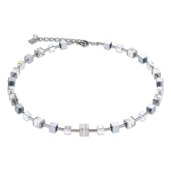 Halskette GeoCUBE® Edelstahl & Kristall Pavé, Swarovski® Kristalle & Howlith silber-weiß 4965_10-1714