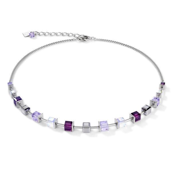Halskette GeoCUBE® Swarovski® Kristalle & Edelstahl amethyst 4996_10-0824