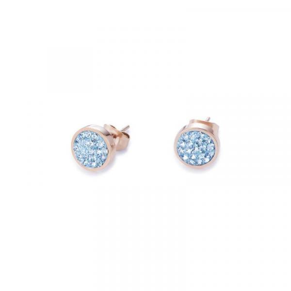 Ohrringe Edelstahl rosegold & Kristalle Pavé blau