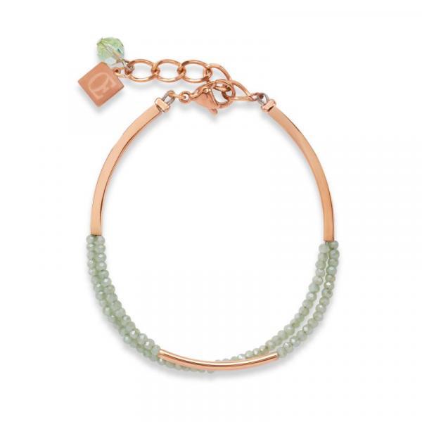 Armband Wasserfall small Edelstahl roségold & Glas hellgrün