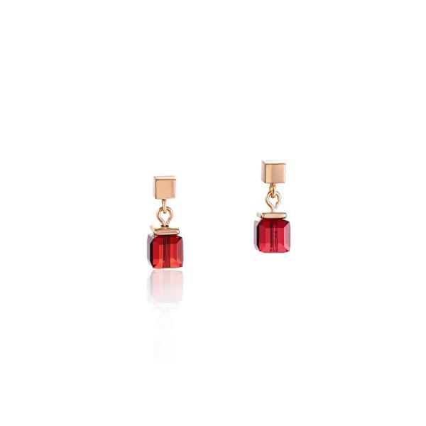 Ohrringe GeoCUBE® Swarovski® Kristalle & Edelstahl roségold rot 4996_21-0300