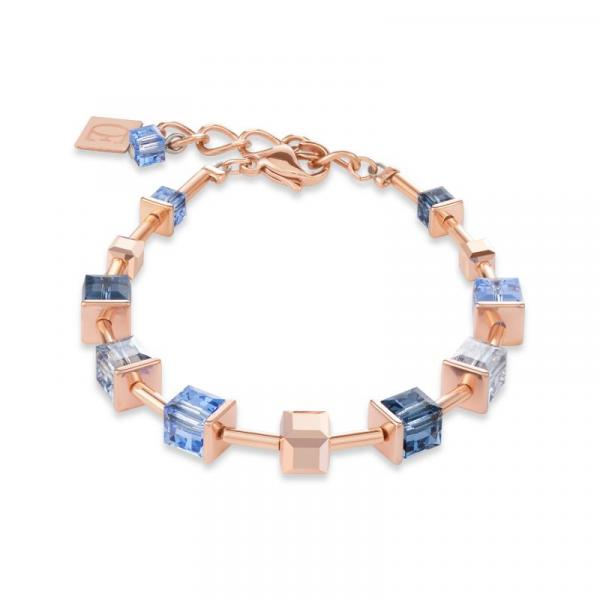 Armband MonochromeBLUE Swarovski® Kristalle & Edelstahl roségold blau