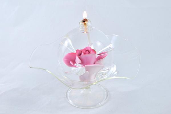 Öllampe mit rosé Rose und Glasschale OL_R_RE_S