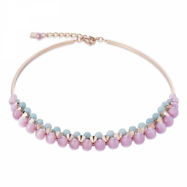Halskette Amazonit Swarovski® Kristalle & Edelstahl roségold rosa-mint