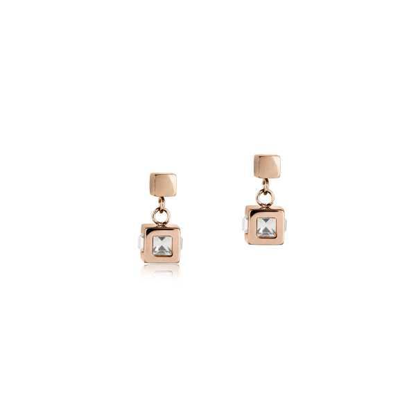 Ohrringe Cube Edelstahl roségold & Kristall