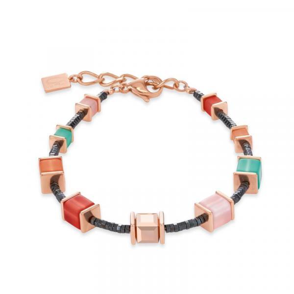 Armband GeoCUBE® Swarovski® Kristalle & Polaris koralle-mintgrün