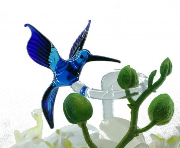 Wundersylphe (blau) Blumenstab / Orchideenstab aus Glas BS_WS2