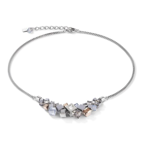Halskette GeoCUBE® Cluster silber-rosegold