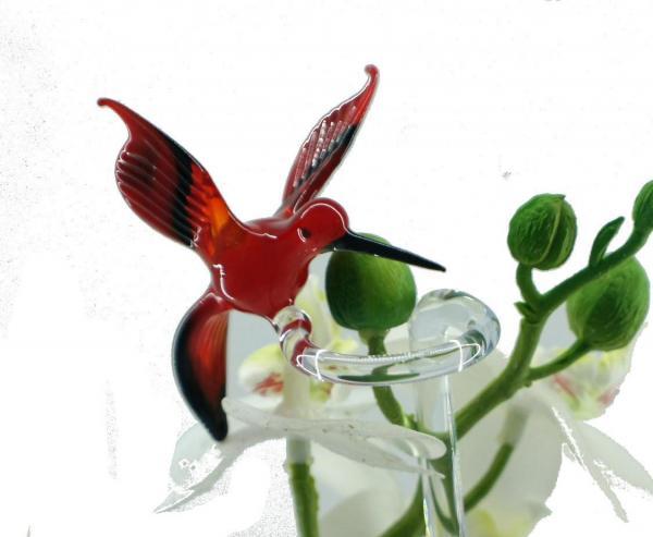 Wundersylphe (rot) Blumenstab / Orchideenstab aus Glas BS_WS3