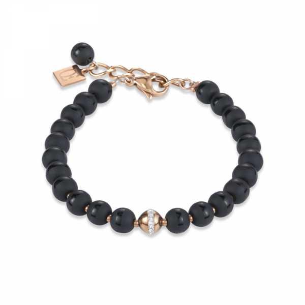 Armband Kugel Onyx & Edelstahl roségold & Kristall Pavé kristall