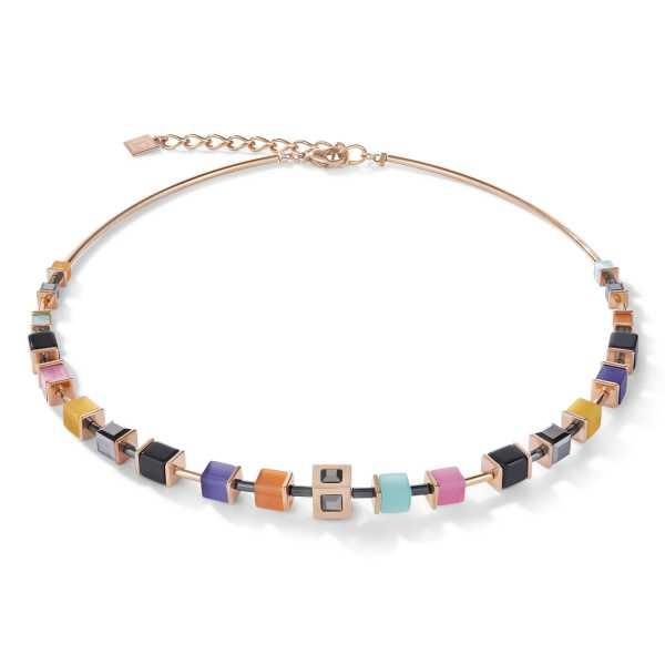 Halskette GeoCUBE® Cube Edelstahl roségold & Kristall multicolor couture