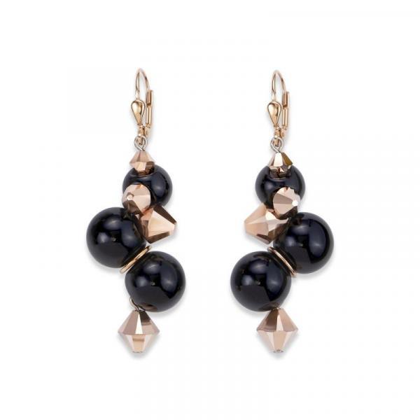 Ohrringe Acrylglas schwarz & Swarovski® Kristalle roségold 4937_20-1300