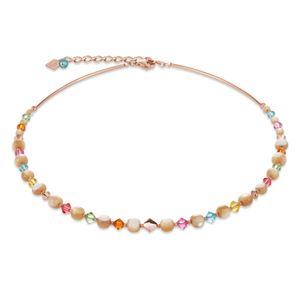 Halskette Perlmutt, Swarovski® Kristalle & Edelstahl roségold multicolor