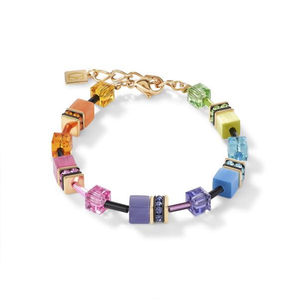 GeoCUBE® Armband multicolor rainbow gold