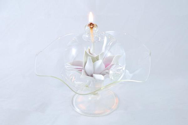 Öllampe mit rosé-weißer Sternblüte und Glasschale OL_SB_RW_S