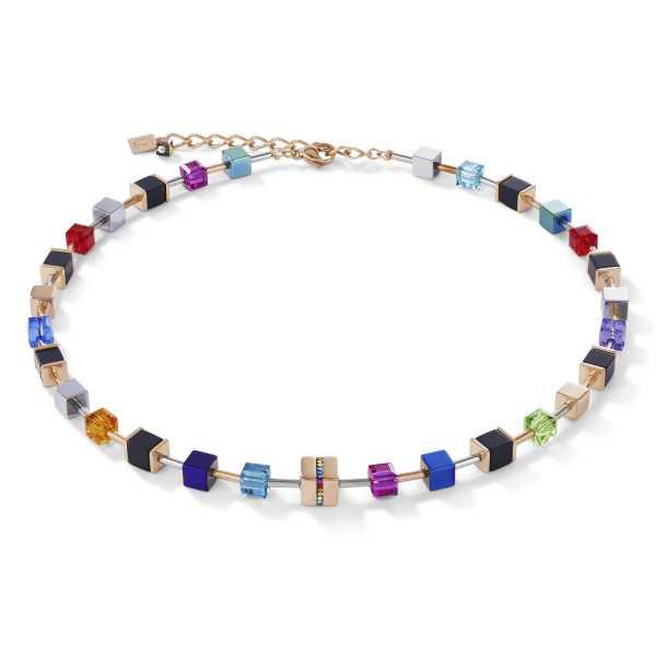 Halskette GeoCUBE® Edelstahl & Kristall Pavé, Swarovski® Kristalle & Onyx multicolor