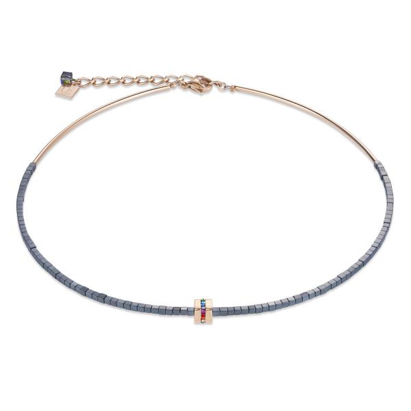 Halskette Edelstahl & Kristall Pavé, Hämatit anthrazit, roségold-multicolor
