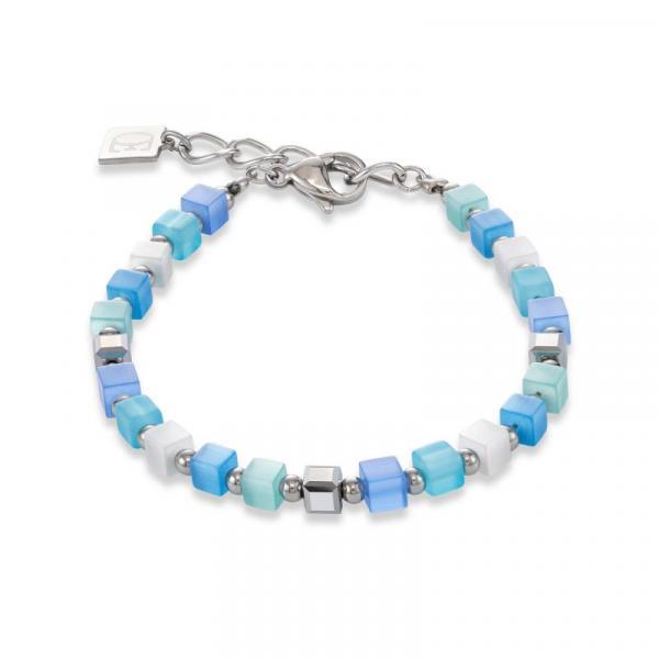 Armband GeoCUBE® small synthetisches Tigerauge & Swarovski® Kristalle blau-türkis