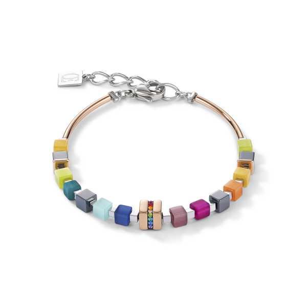 Armband GeoCUBE® Edelstahl roségold & Kristall Pavé multicolor