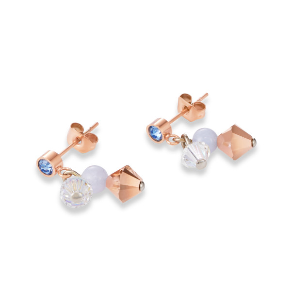 Ohrringe Swarovski® Kristalle & Chalzedon hellblau