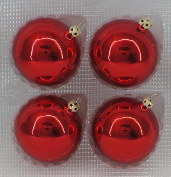 Rot Uni Kugeln 7cm - 4er Set