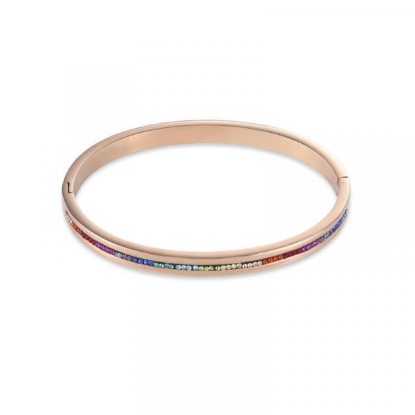 Armreif Edelstahl roségold & Kristall Pavé Streifen multicolor 0226_37-1500