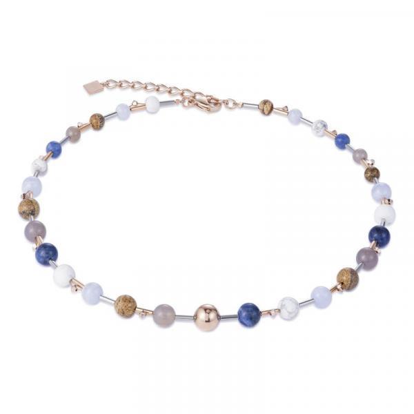 Halskette Edelsteine Howlith Sodalith Chalzedon Achat Landschafts-Jaspis blau