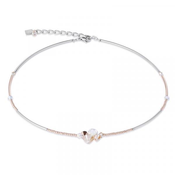 Halskette Swarovski® Kristalle & Edelstahl roségold nude