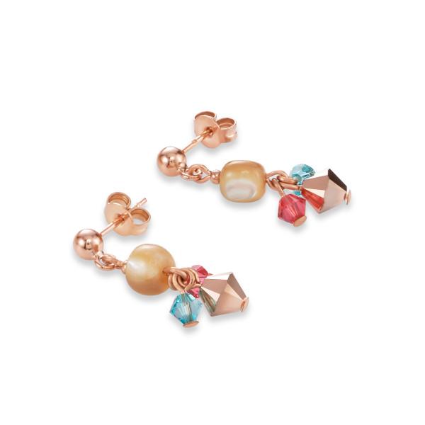 Ohrringe Perlmutt, Swarovski® Kristalle & Edelstahl roségold multicolor