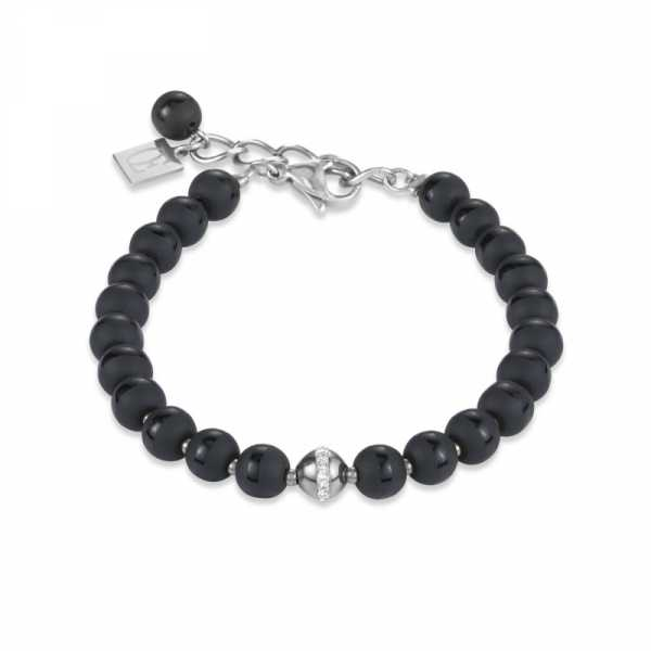 Armband Kugel Onyx & Edelstahl silber & Kristall Pavé kristall