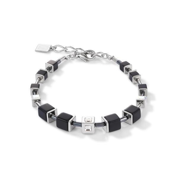 Armband GeoCUBE® Cube Edelstahl & Kristall schwarz-silber 5050_30-1317