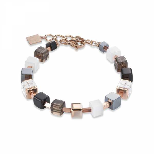 Armband GeoCUBE® Swarovski® Kristalle, Rauchquarz & Hämatit roségold