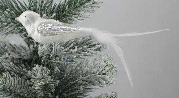Eisweisssilber Waldvogel mit echter Feder