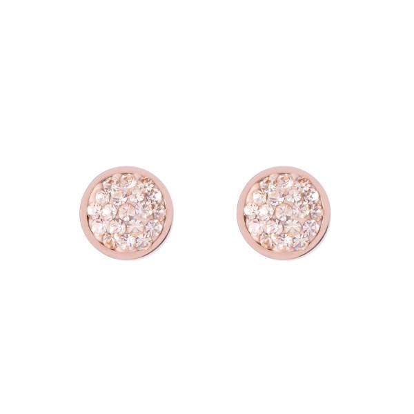 Ohrringe Edelstahl rosegold & Kristalle Pavé peach 0218_21-0225