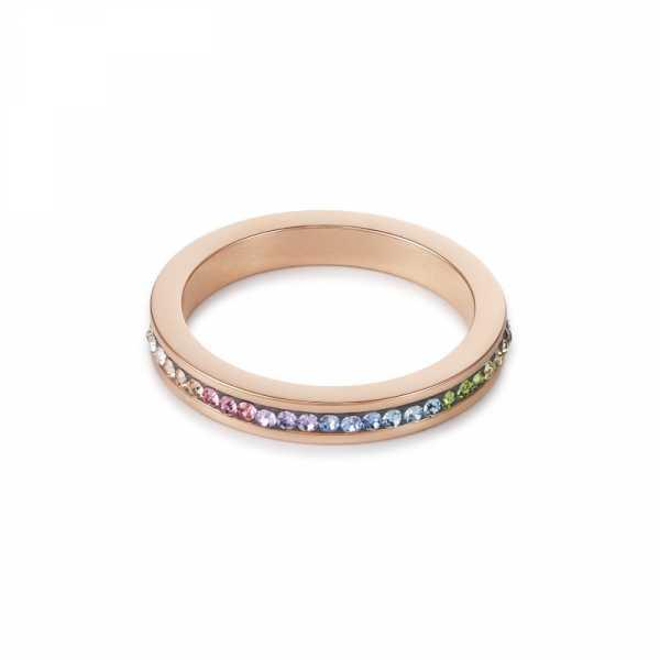 Ring schmal Edelstahl rosegold & Kristalle Pavé multicolor pastell
