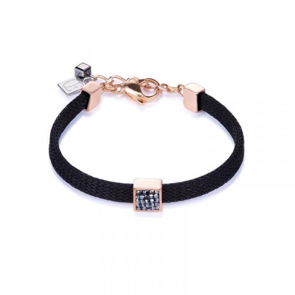 Armband Edelstahl roségold Kristalle Pavé Anthrazit 0217_30-1223