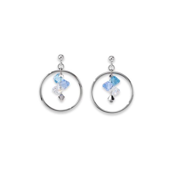 Ohrringe Edelstahl Ring & Swarovski® Kristalle silber-hellblau