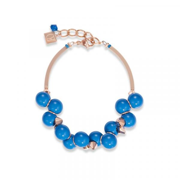 Armband Acrylglas blau & Swarovski® Kristalle roségold