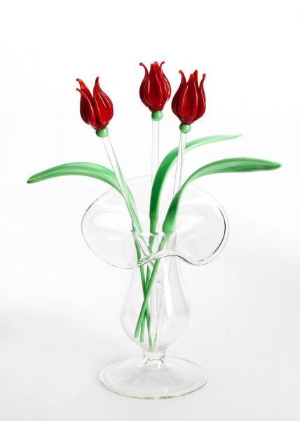 3 x Tulpe rot + 3 x Blatt + Väschen BC_BS_STUR